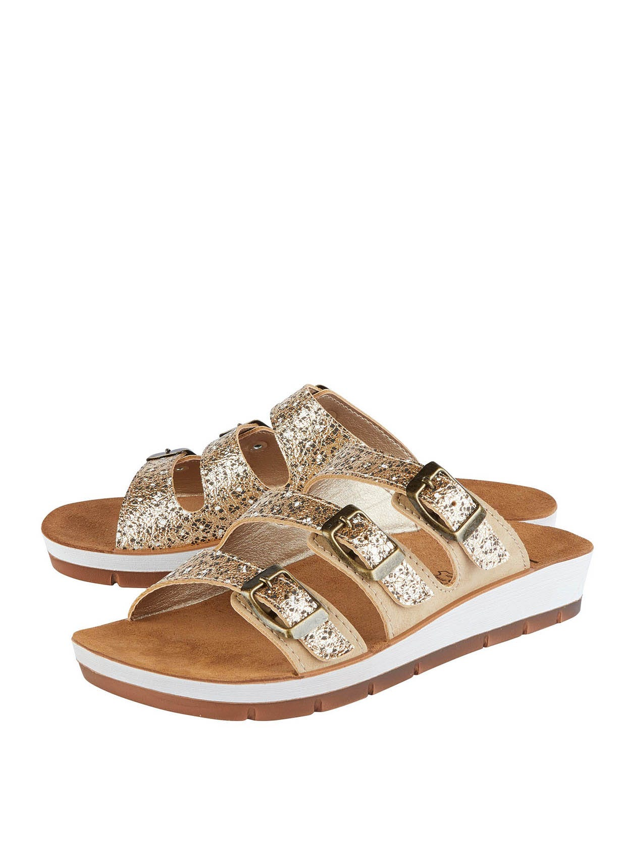 Lotus Turin Mule Sandals in Gold and