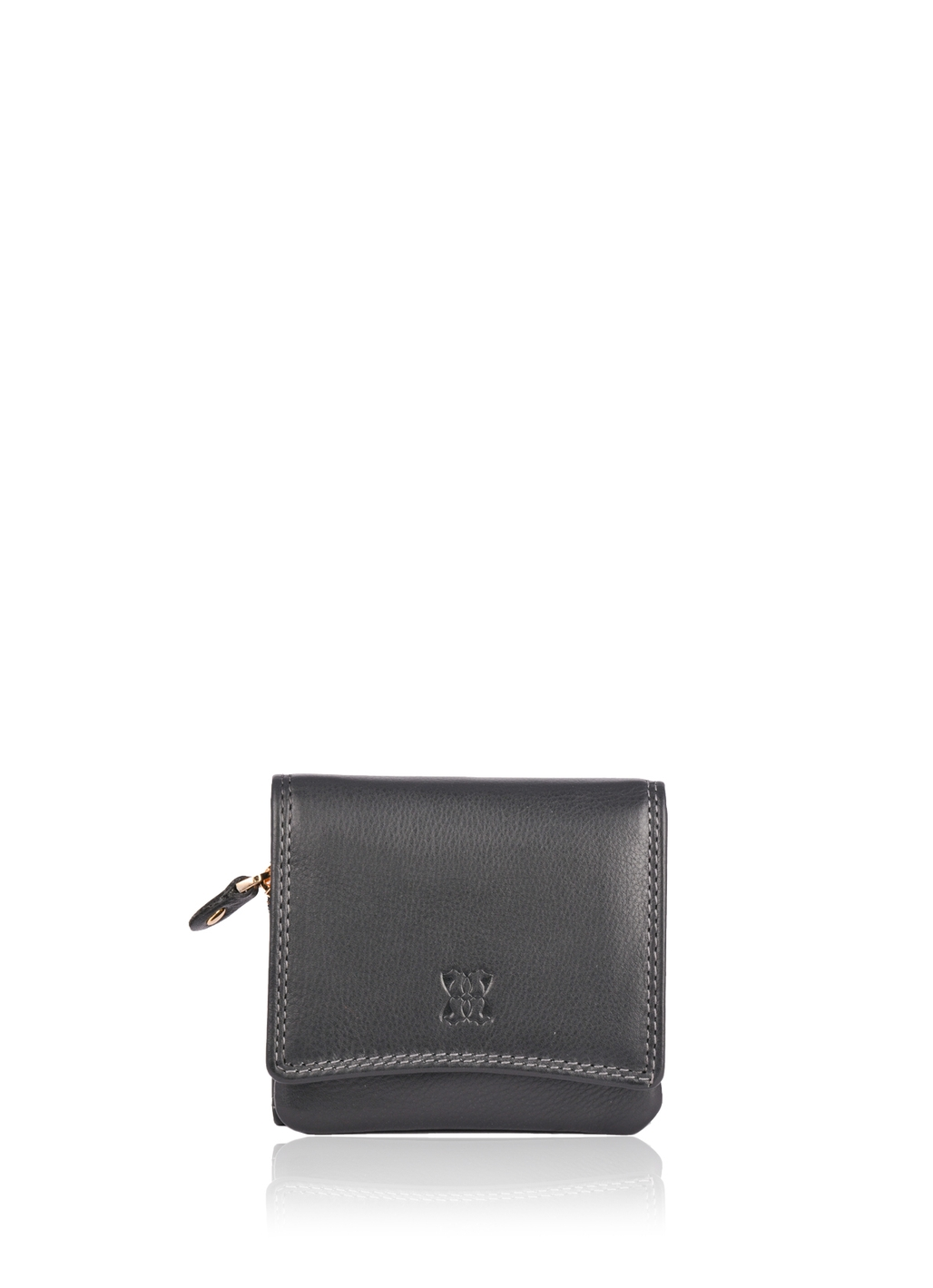 10cm Leather Purse in Black