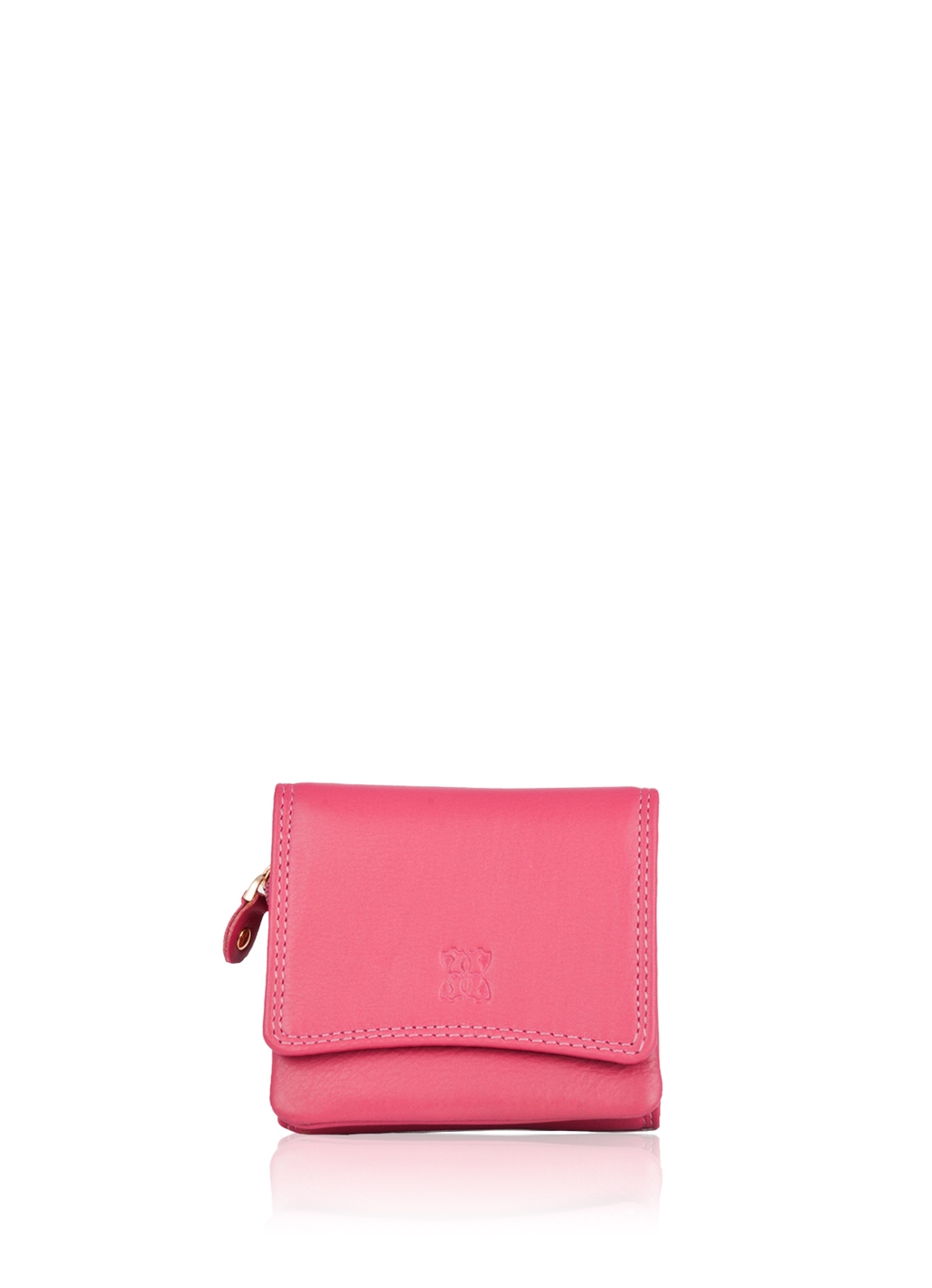 10cm Leather Purse in Cranberry Pink