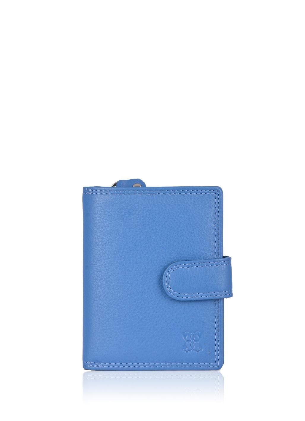 11.5cm Leather Tab Purse in Blue