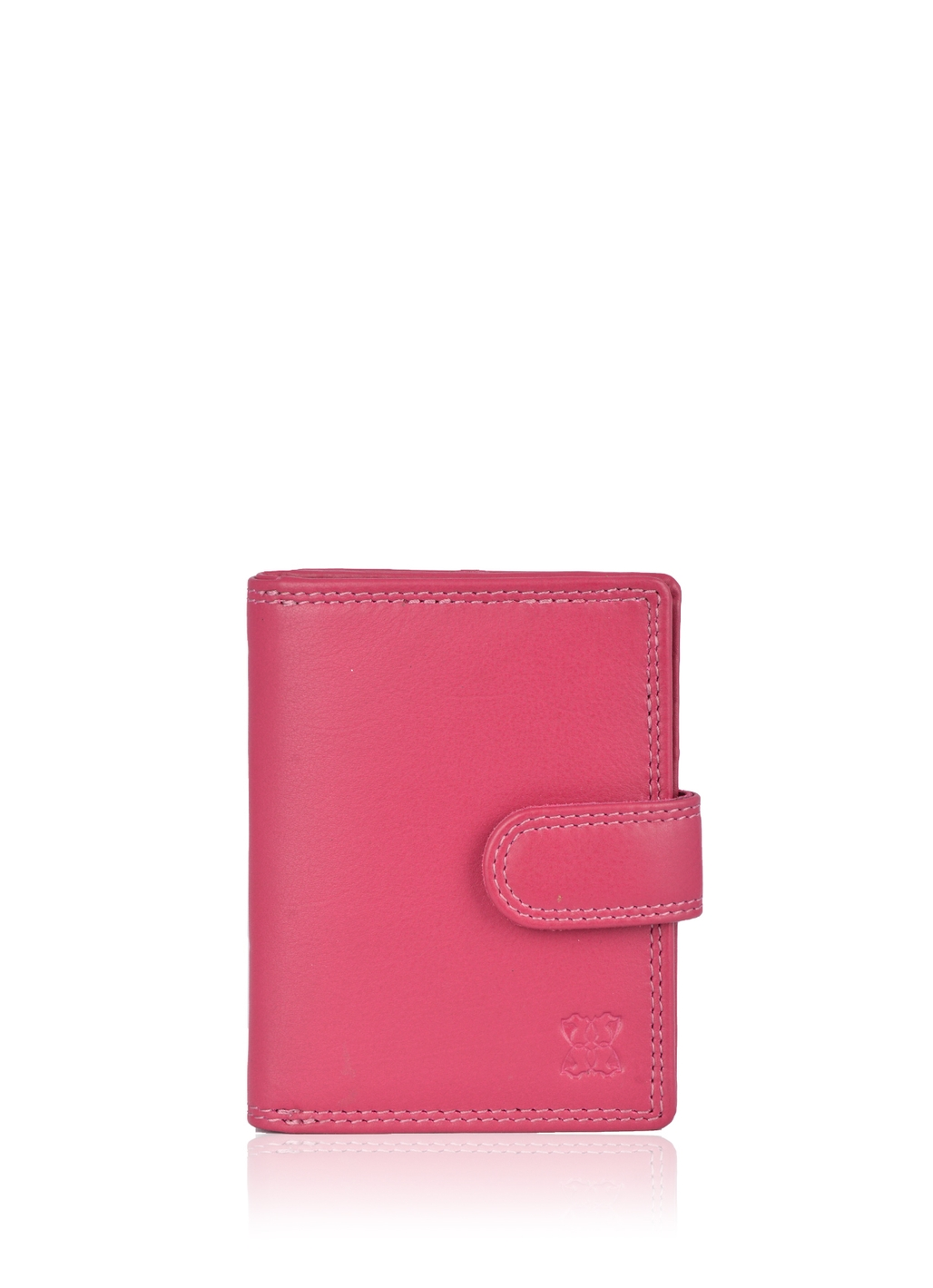 11.5cm Leather Tab Purse in Cranberry Pink