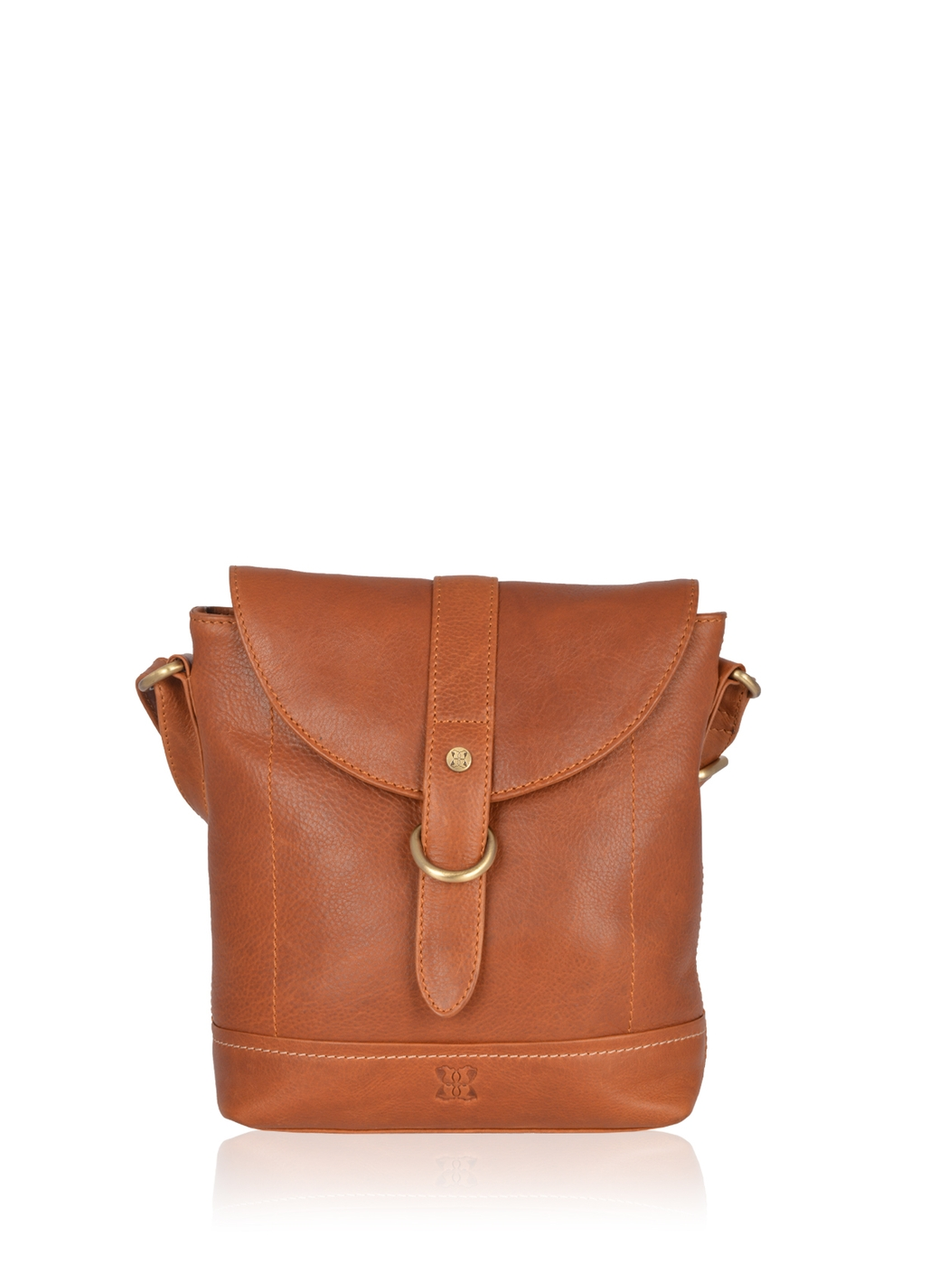 Allonby Flapover Leather Cross Body Bag in Tan