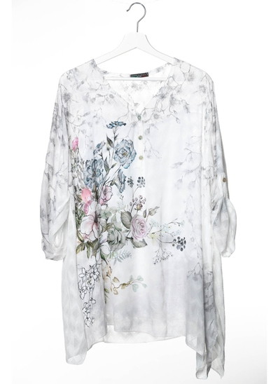 Bailey Floral Shirt Dress in Ivory