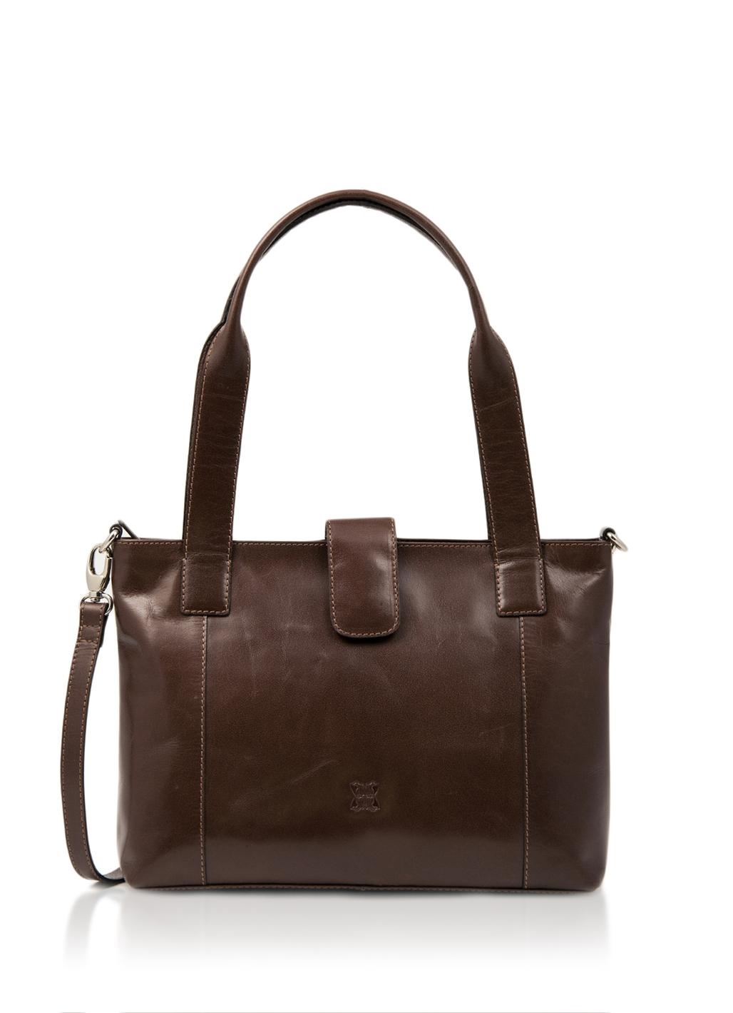 Bowland Leather Shoulder Bag in Brown