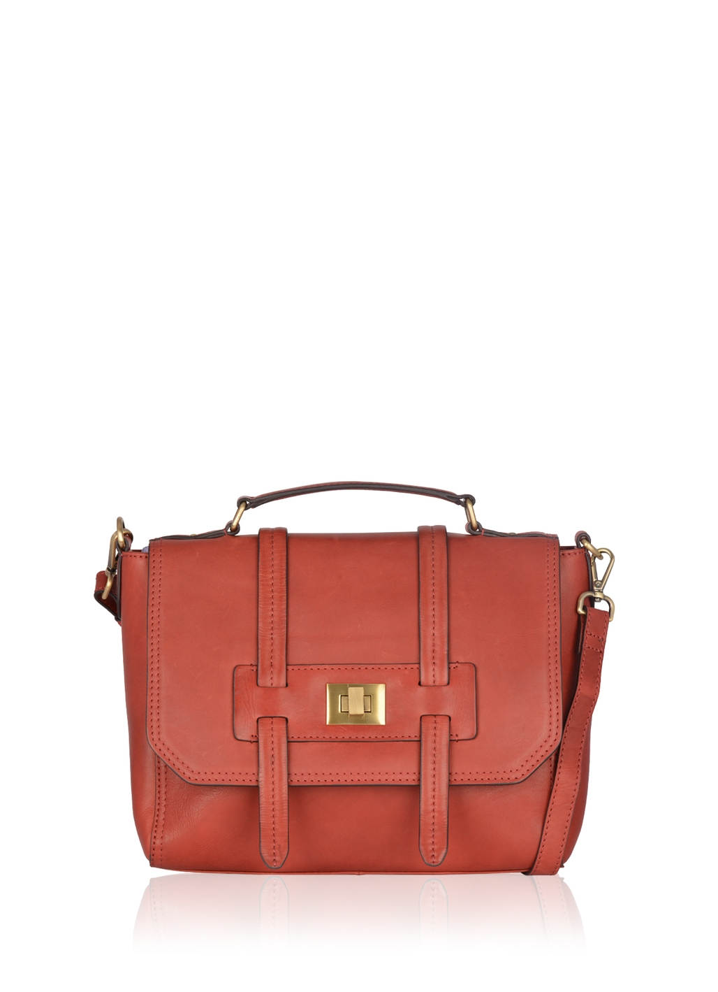 Brampton Leather Flapover Satchel Bag in Red