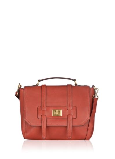 Brampton Leather Flapover Satchel Bag in Red