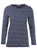 Billie Striped Breton Top in Navy and Ivory