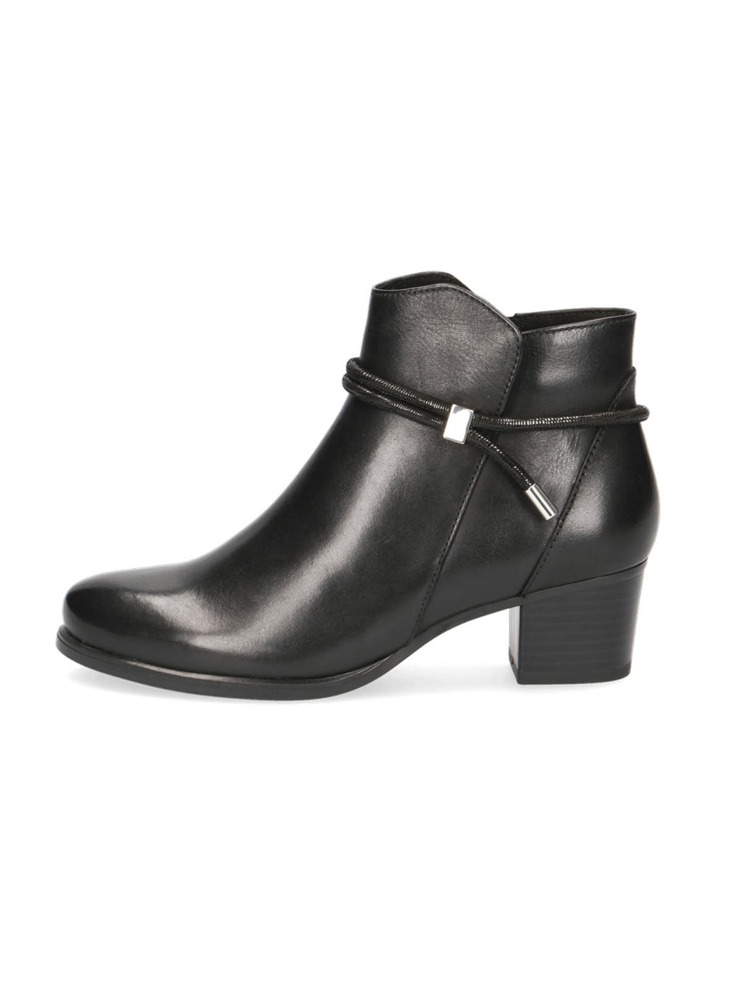 Caprice Mary Leather Ankle Boots in Black