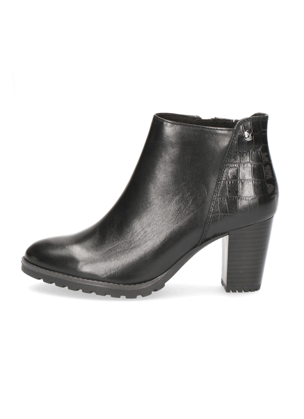 Caprice Meg Heeled Leather Ankle Boots in Black