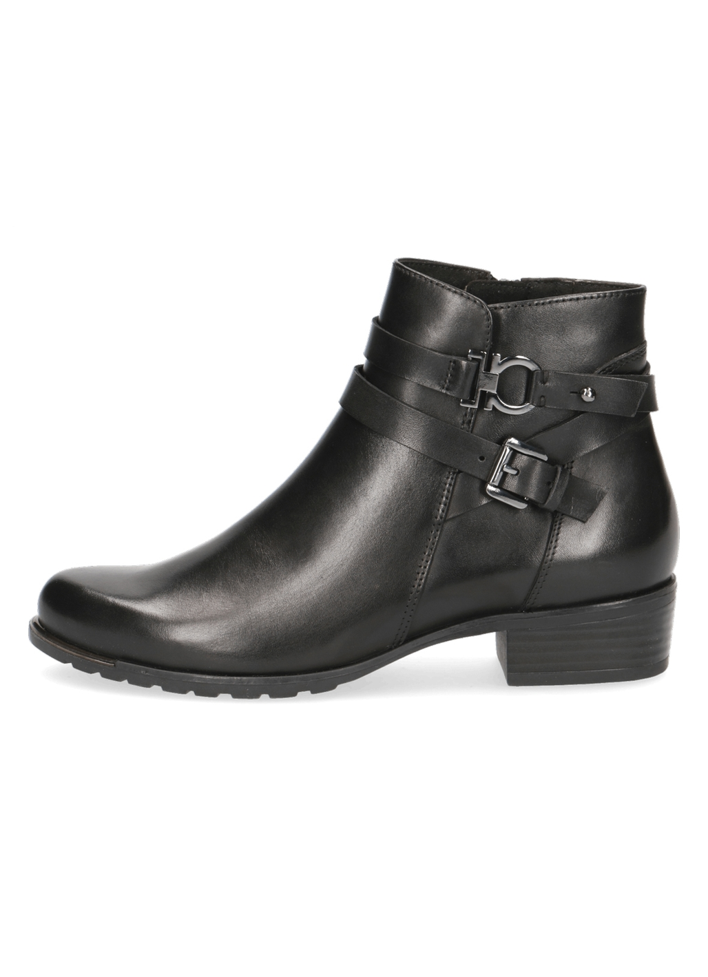 Caprice Miley Leather Ankle Boots in Black