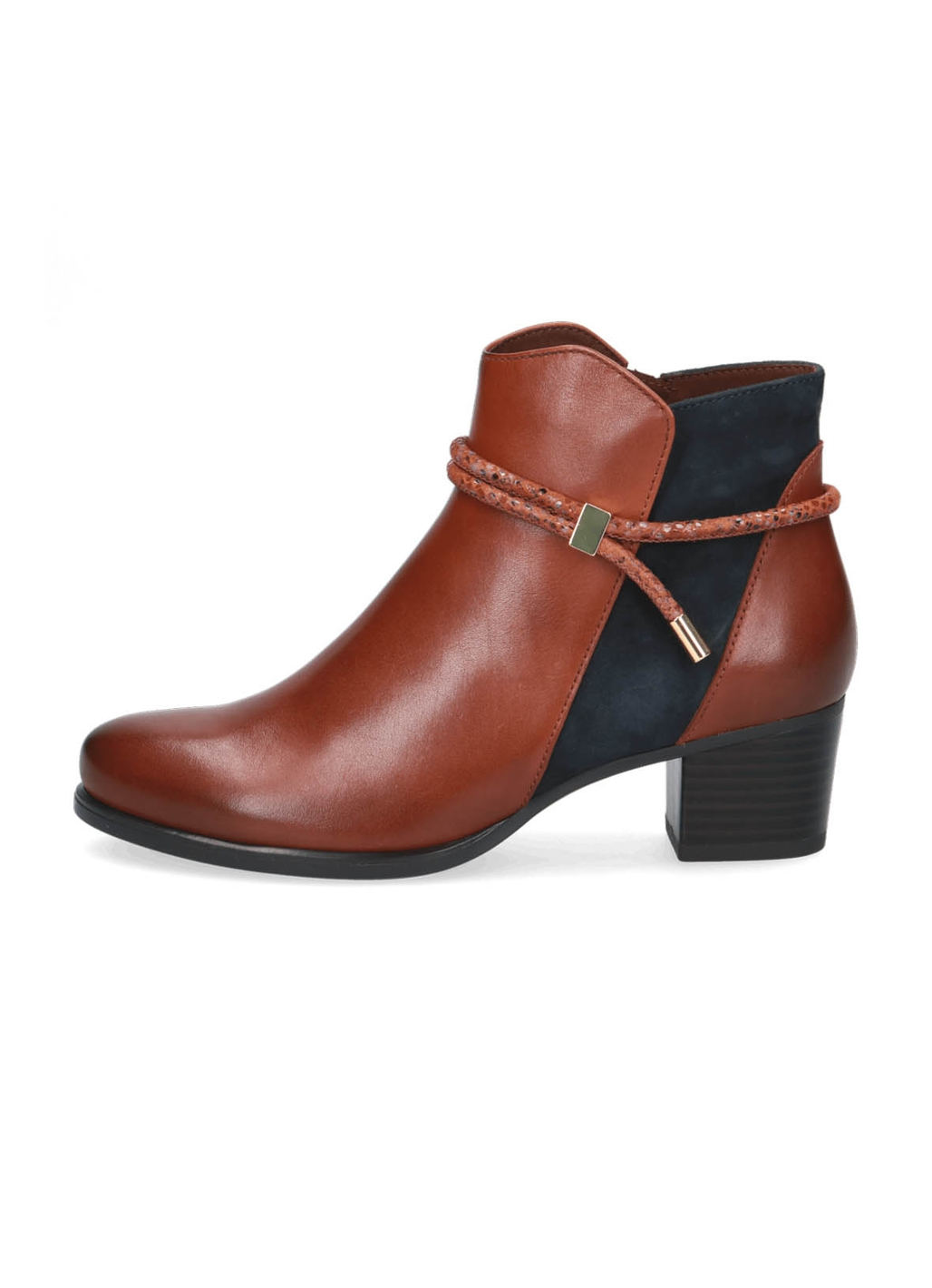 Caprice Mary Leather Ankle Boots in Cognac