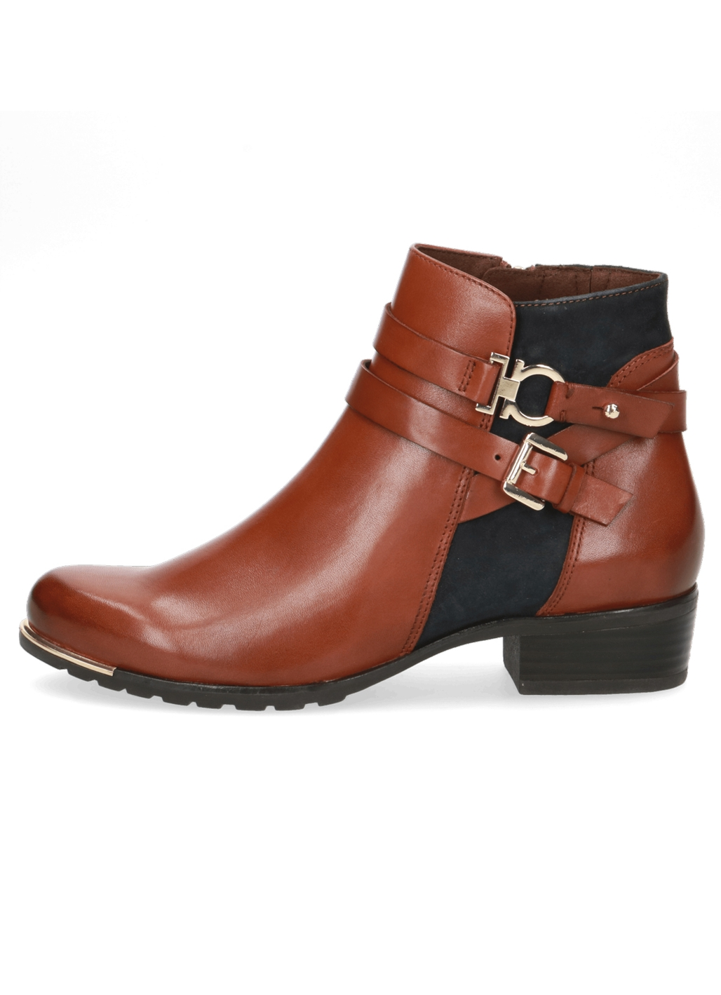 Caprice Miley Leather Ankle Boots in Cognac