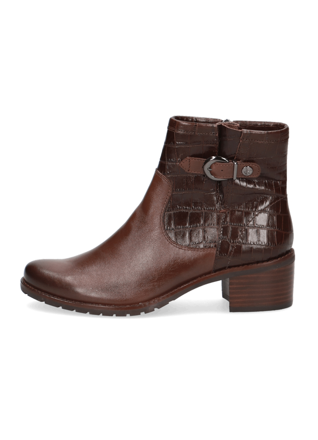 Caprice Daniella Leather Ankle Boots in Dark Brown