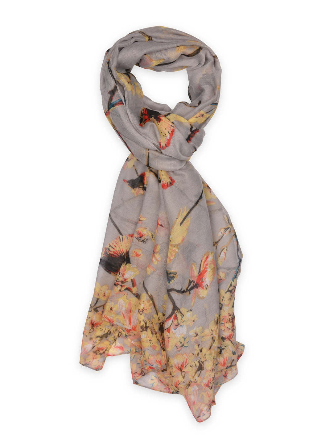 Chrissy Bird Print Scarf in Grey