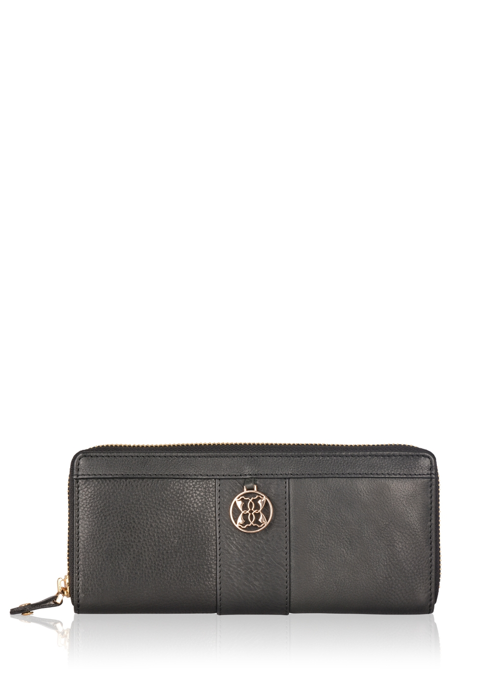 Derwent Leather Zip Around Purse in Black
