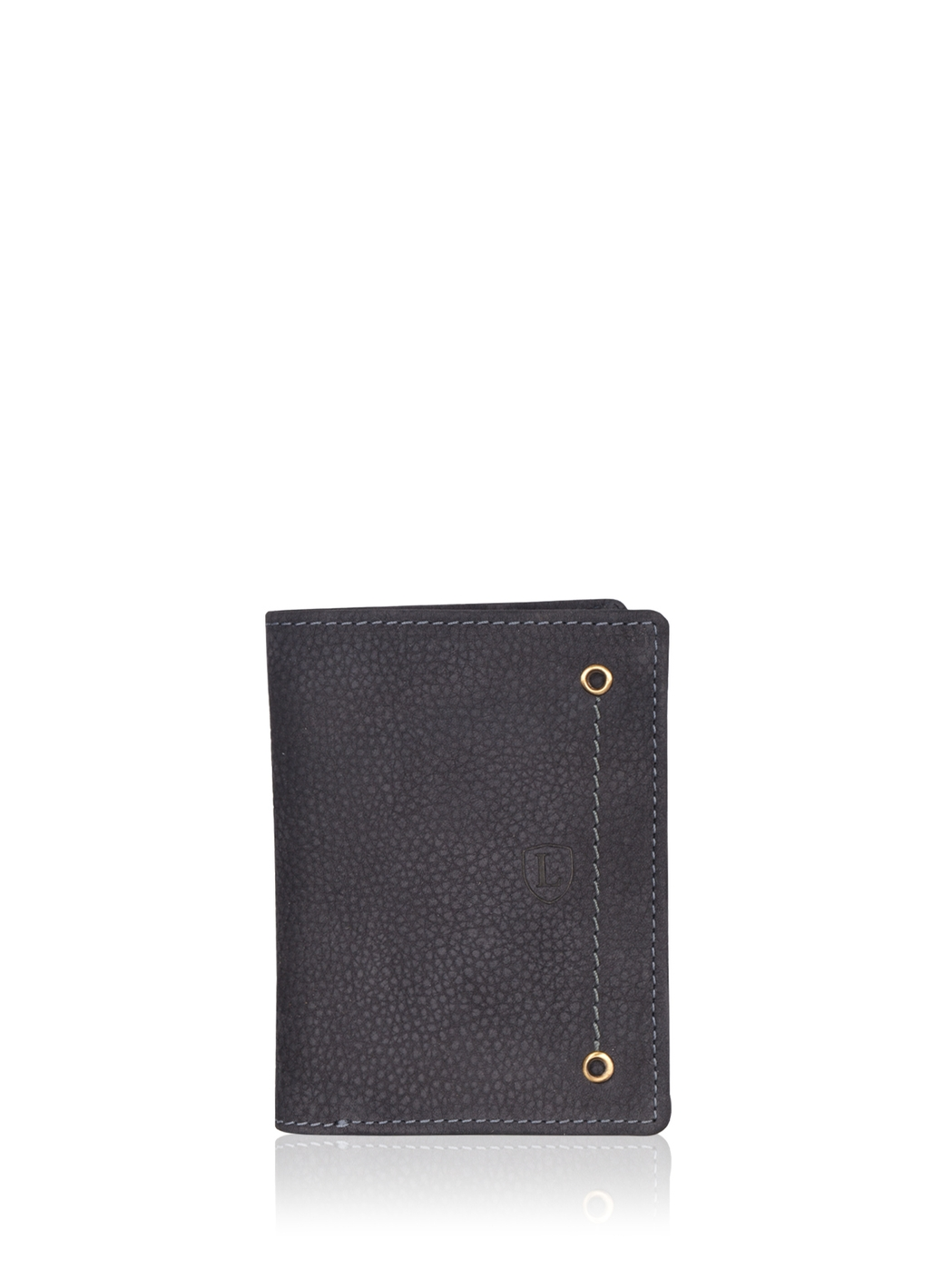 Edward Bi-Fold Leather Wallet in Navy Blue