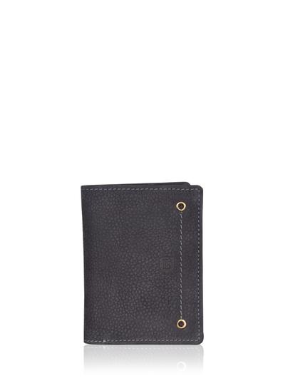 Edward Bi-Fold Leather Wallet in Navy Blue