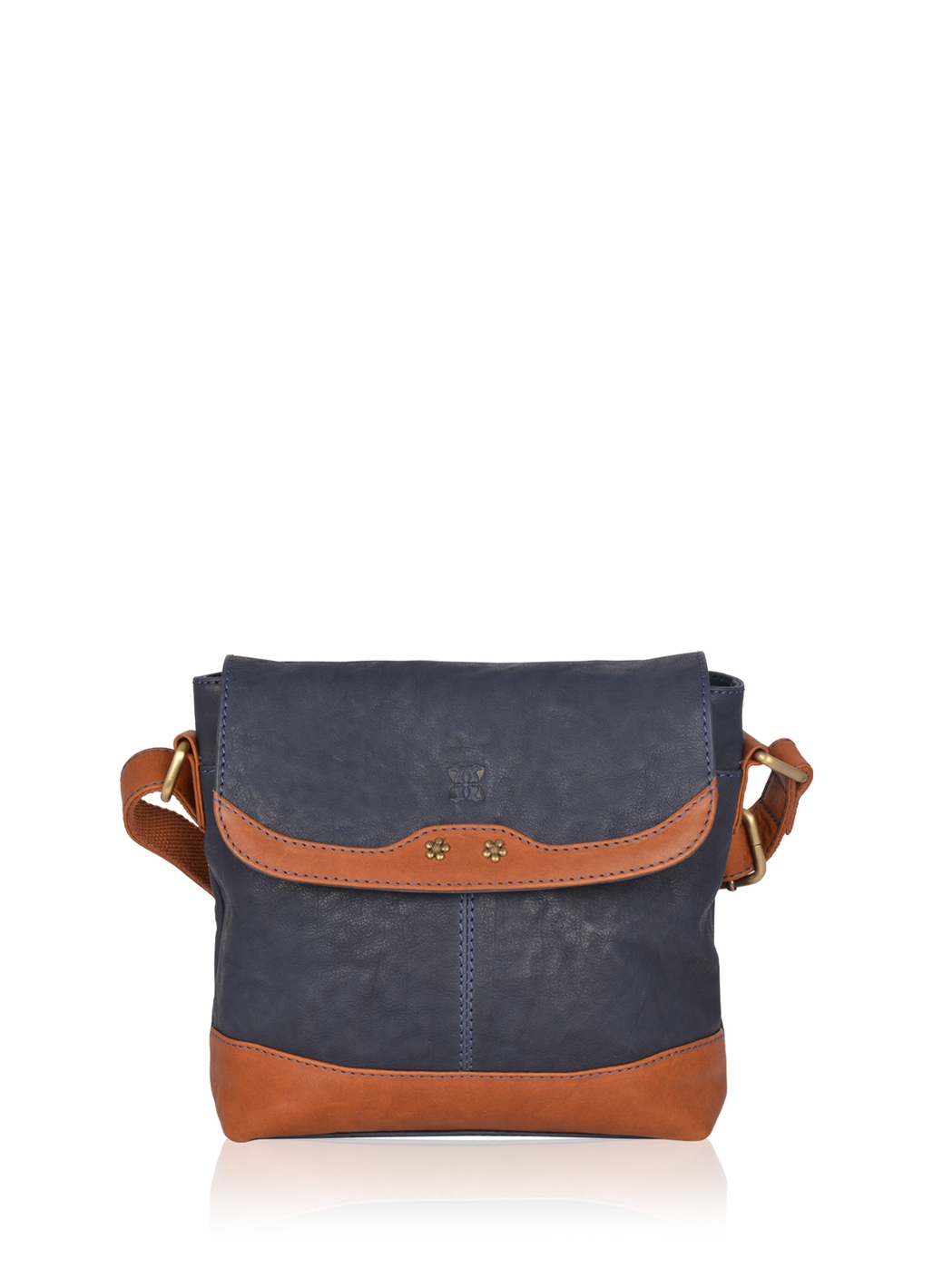 Hartsop Flapover Leather Cross Body Bag in Navy