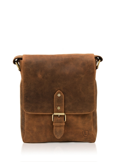 Hunter Leather Messenger Bag in Tan