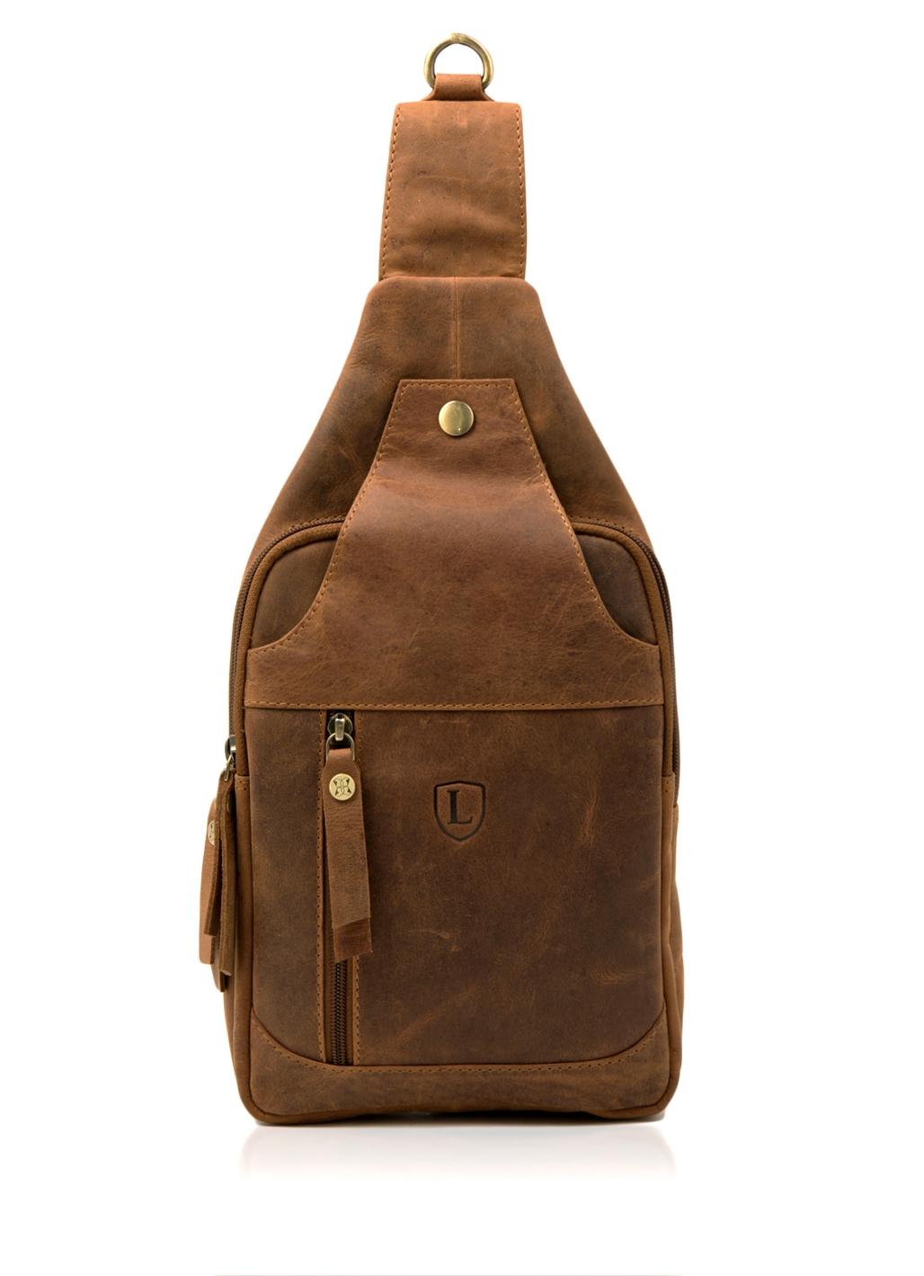 Hunter Leather Sling Bag in Tan