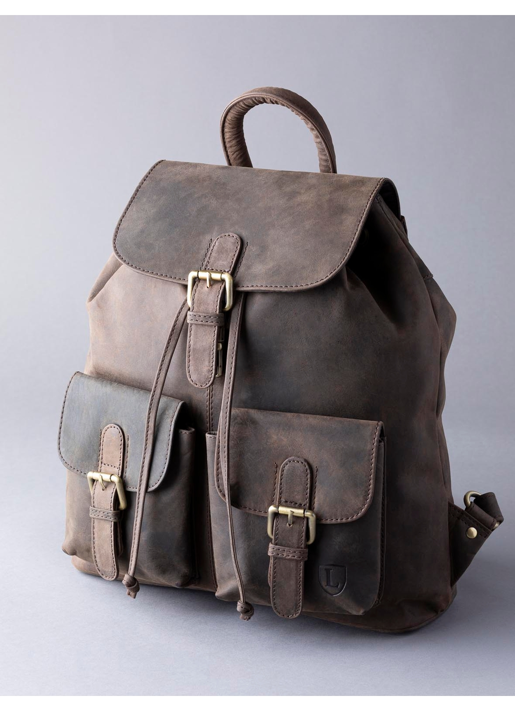 Hunter Leather Backpack in Chocolate Brown