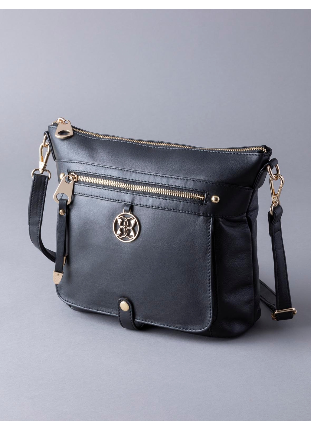 Cartmel II Leather Cross Body Bag in Black