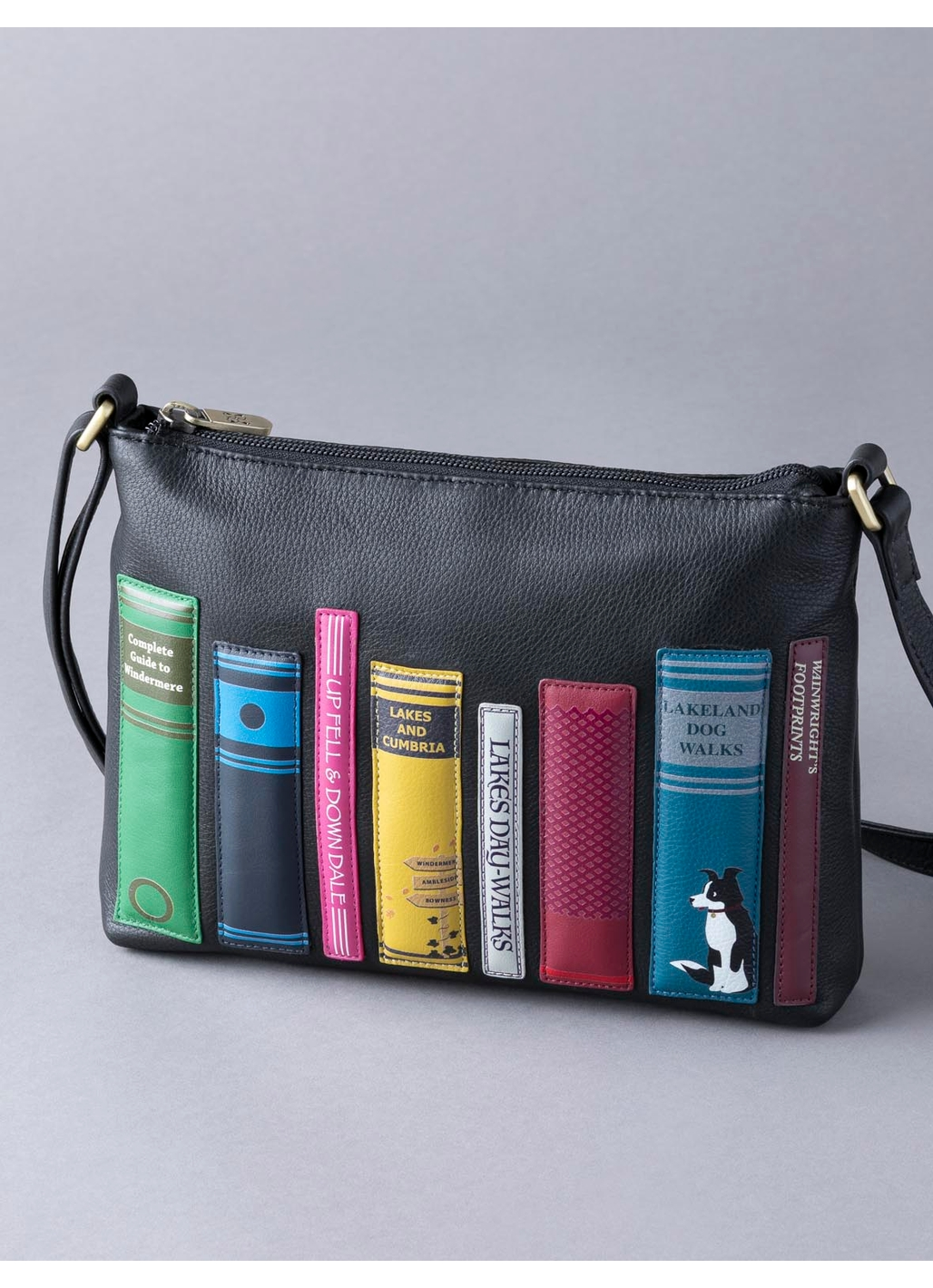 The Lakes Book Leather Cross Body Bag in Black