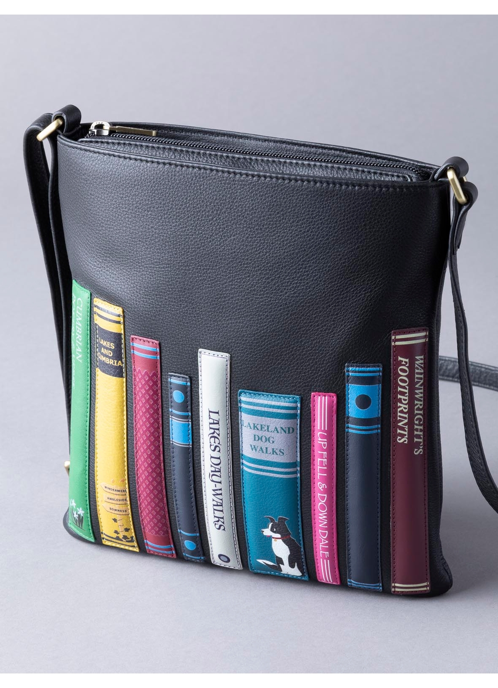 The Lakes Book Leather Portrait Cross Body Bag in Black