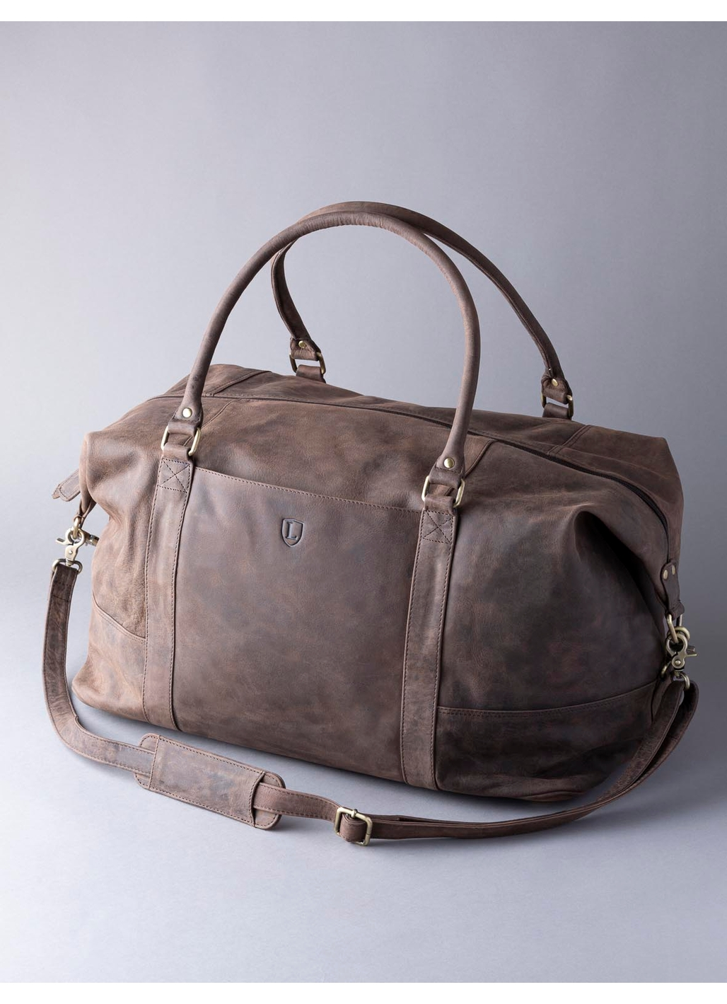 Hunter Leather Holdall in Chocolate Brown