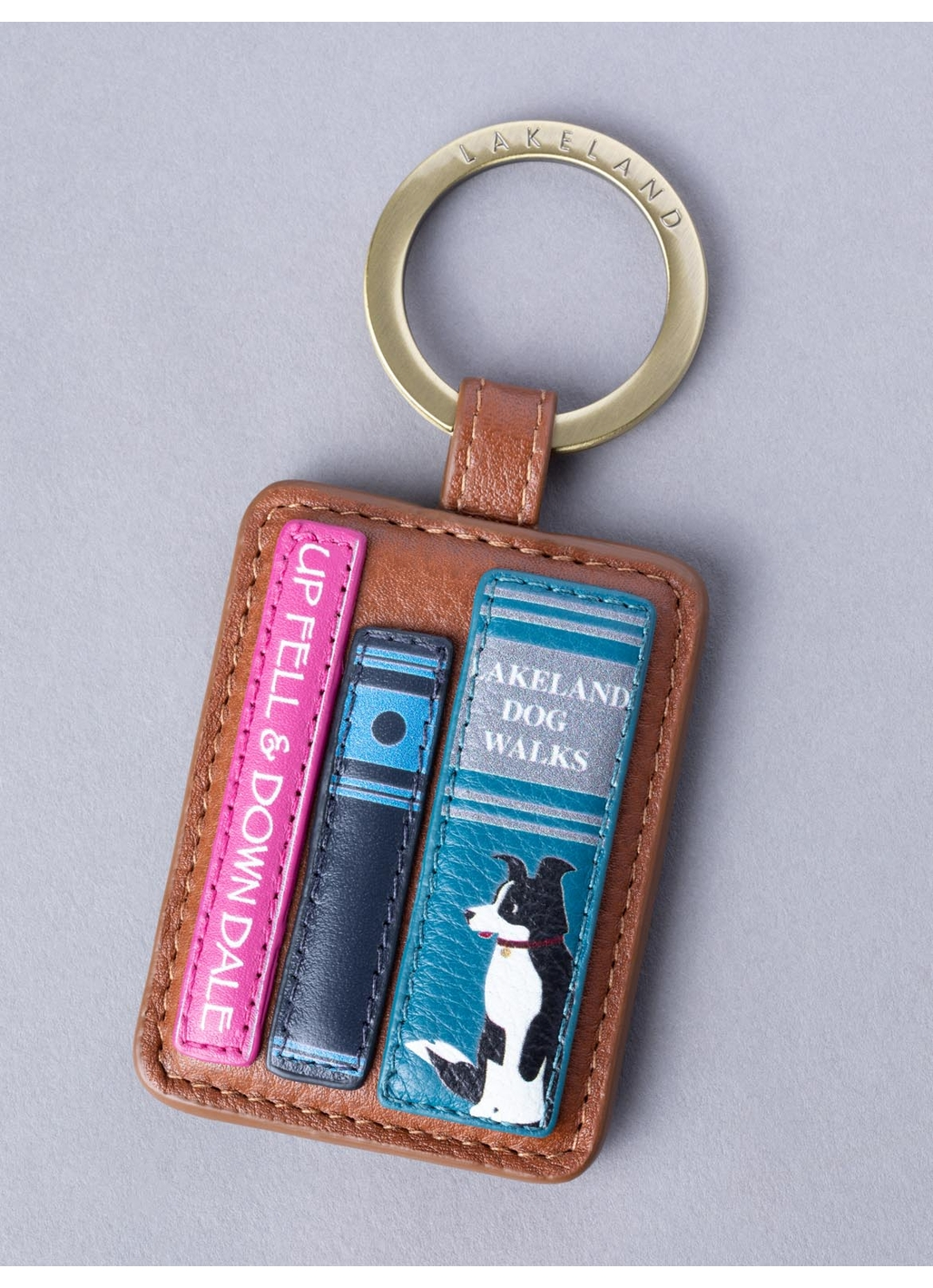 The Lakes Book Leather Keyring in Tan