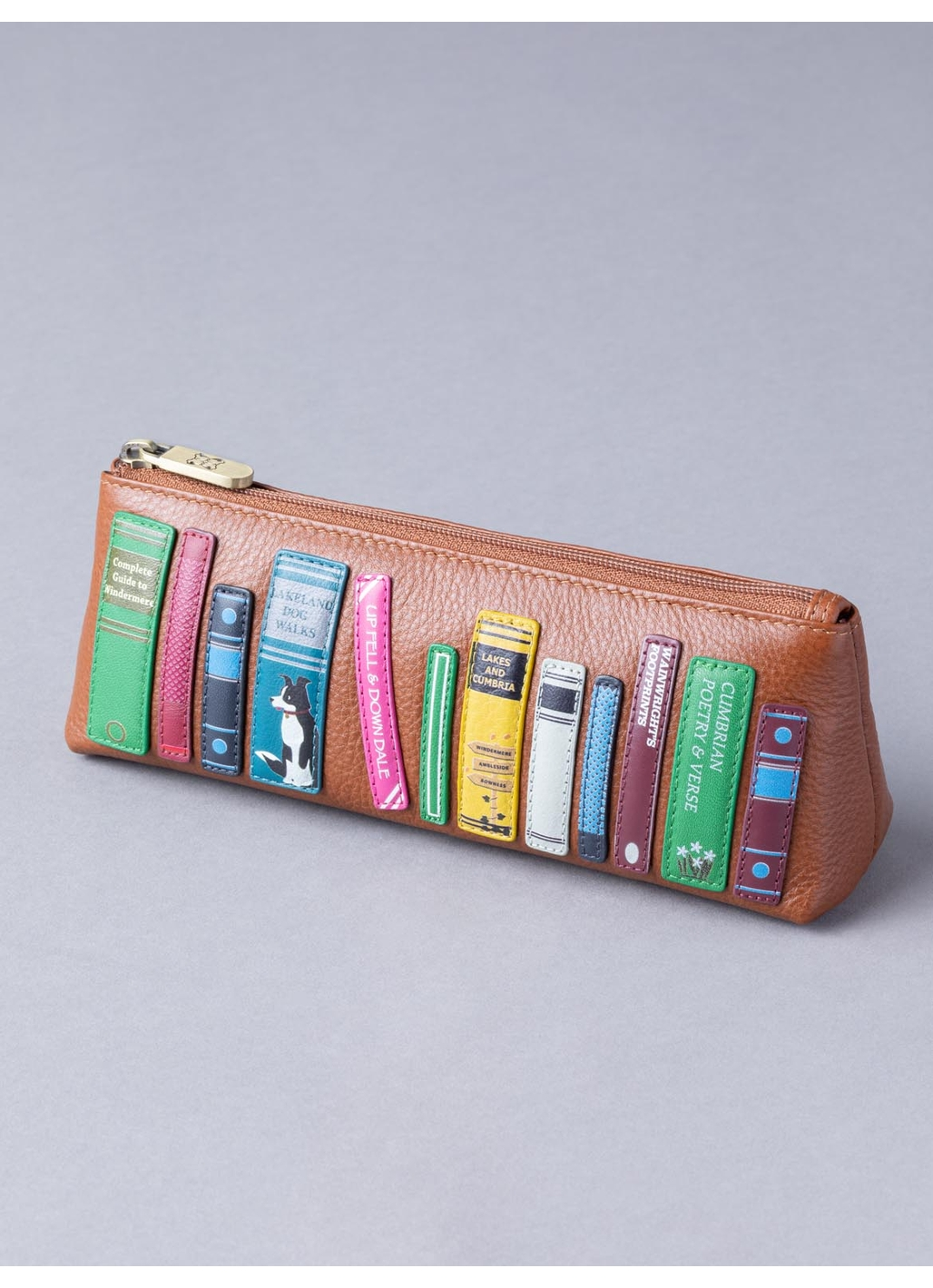 The Lakes Book Leather Pencil Case in Tan