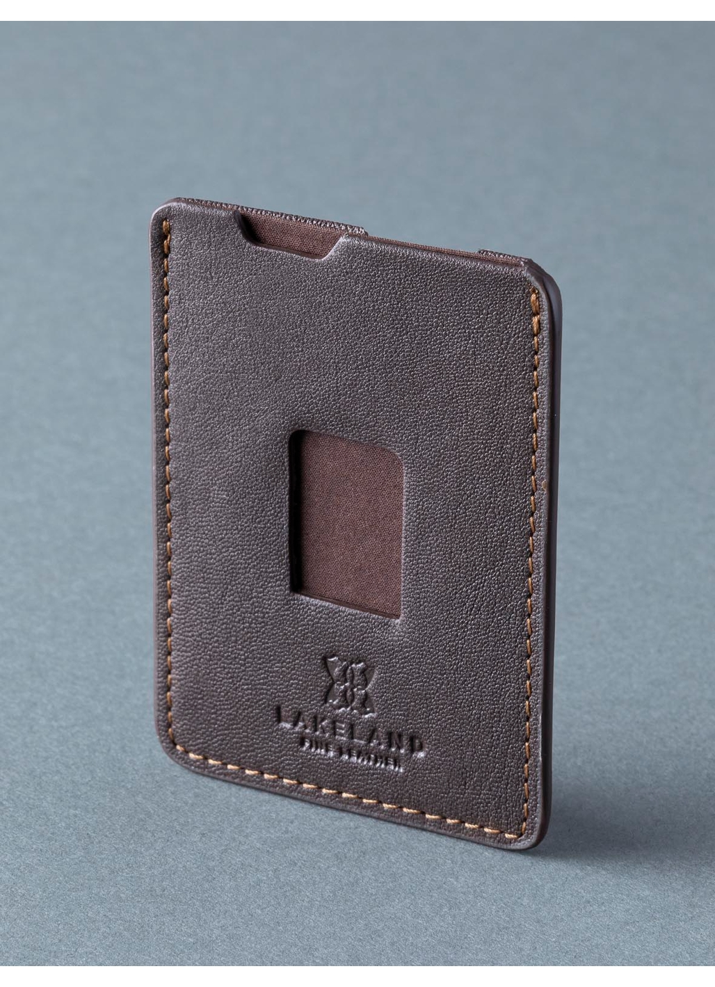 Ashley Leather Push Card Wallet in Dark Brown