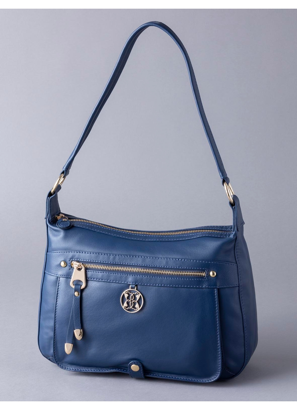 Cartmel II Leather Shoulder Bag in Navy