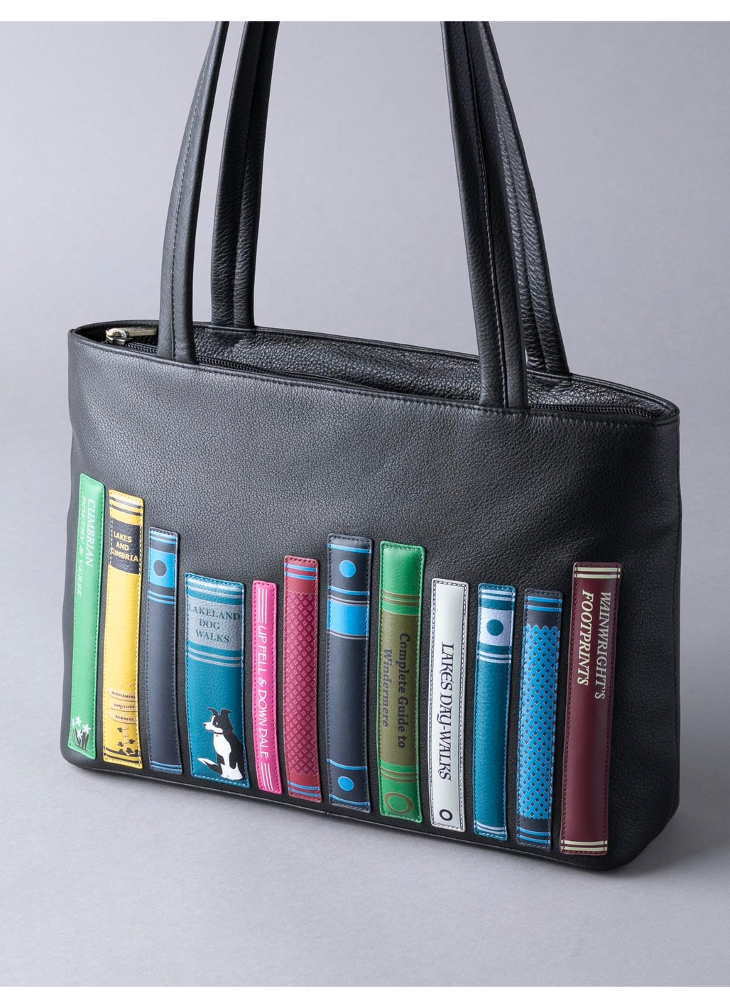 The Lakes Book Leather Shoulder Bag in Black