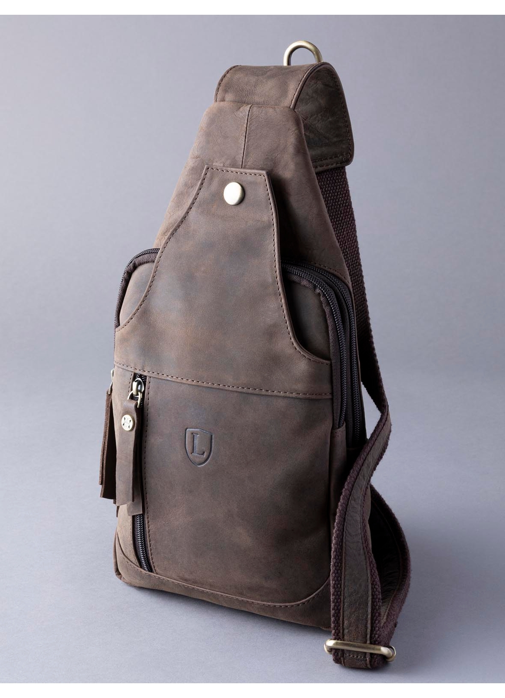 Hunter Leather Sling Bag in Chocolate Brown