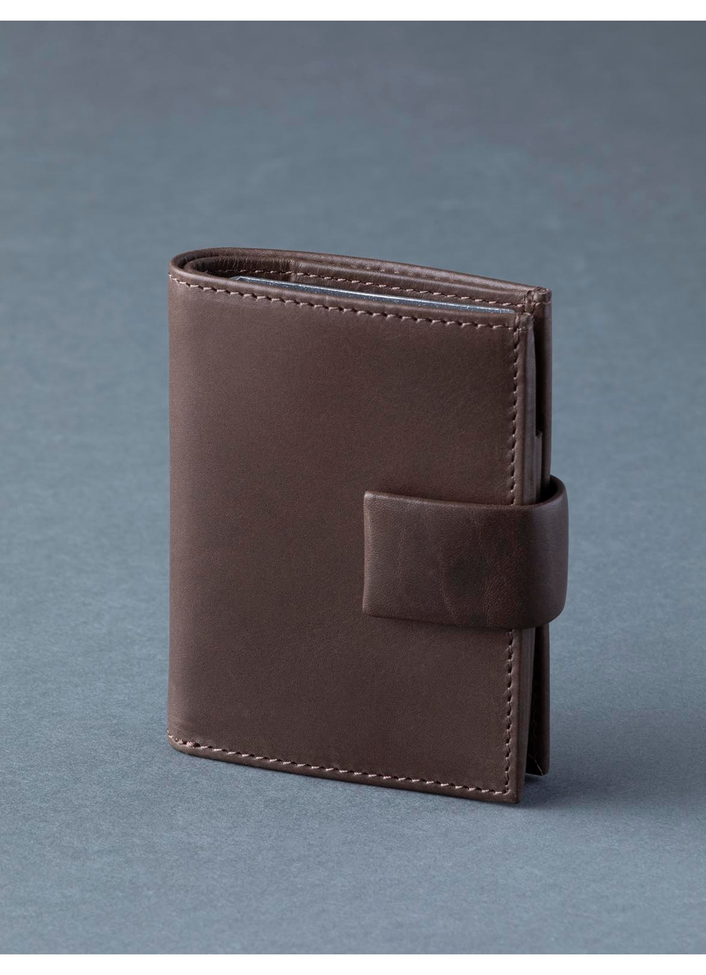 Scafell Leather Pop-Up Card Holder in Brown