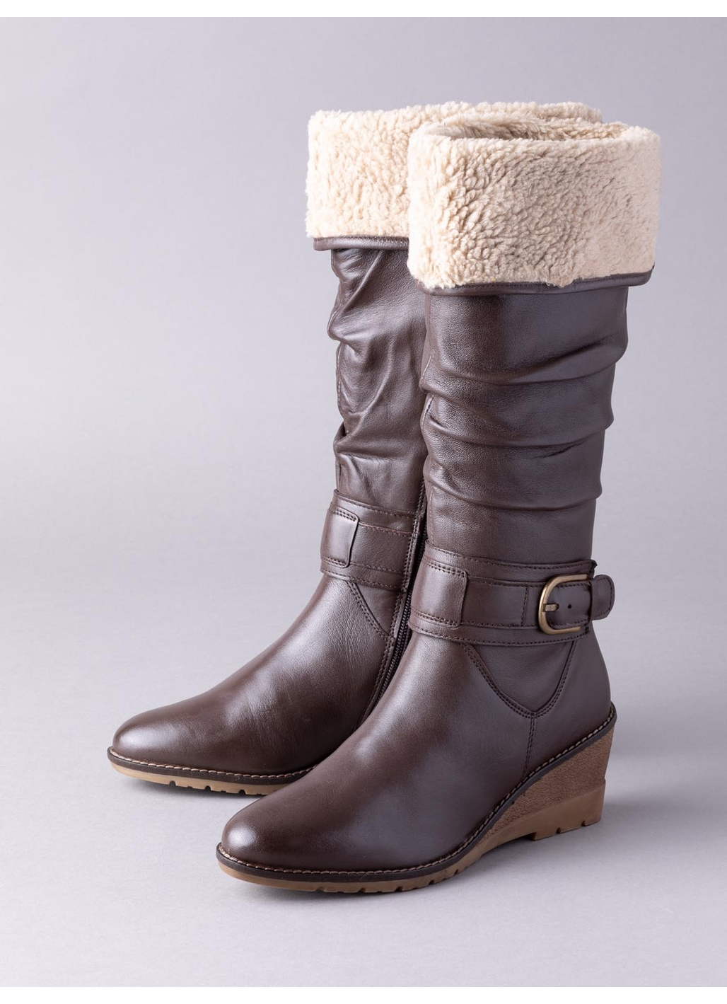 Lotus Dandy Knee High Leather Boots in Brown