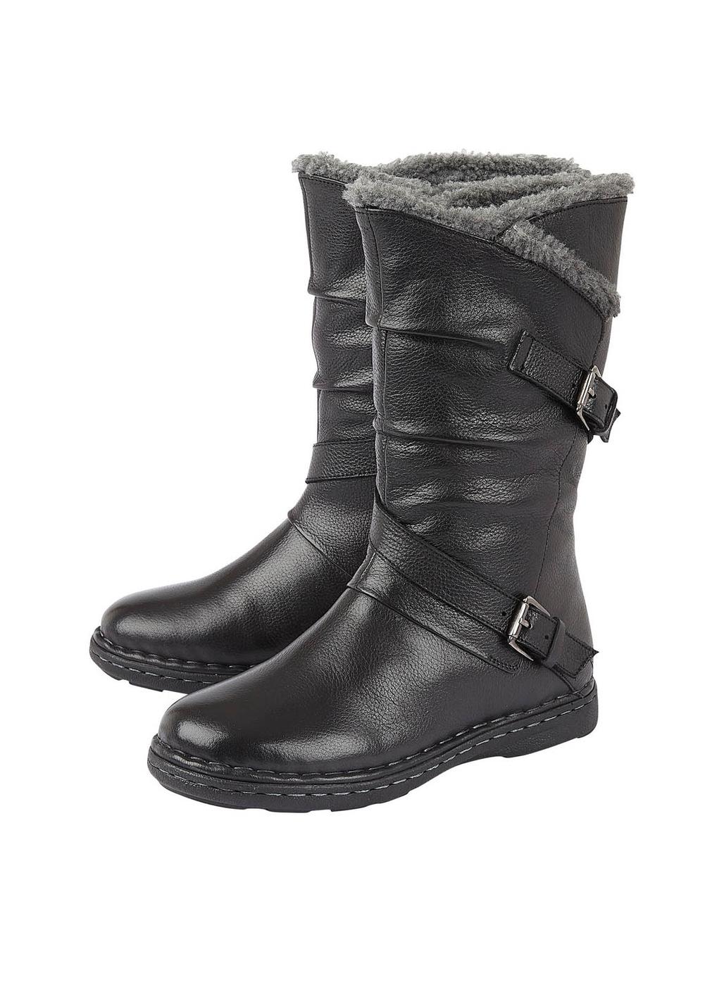Lotus Jolanda Mid-Calf Leather Boots in Black