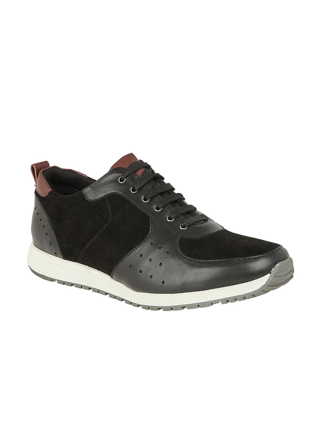 Lotus Abel Leather & Suede Trainer Style Shoe in Black