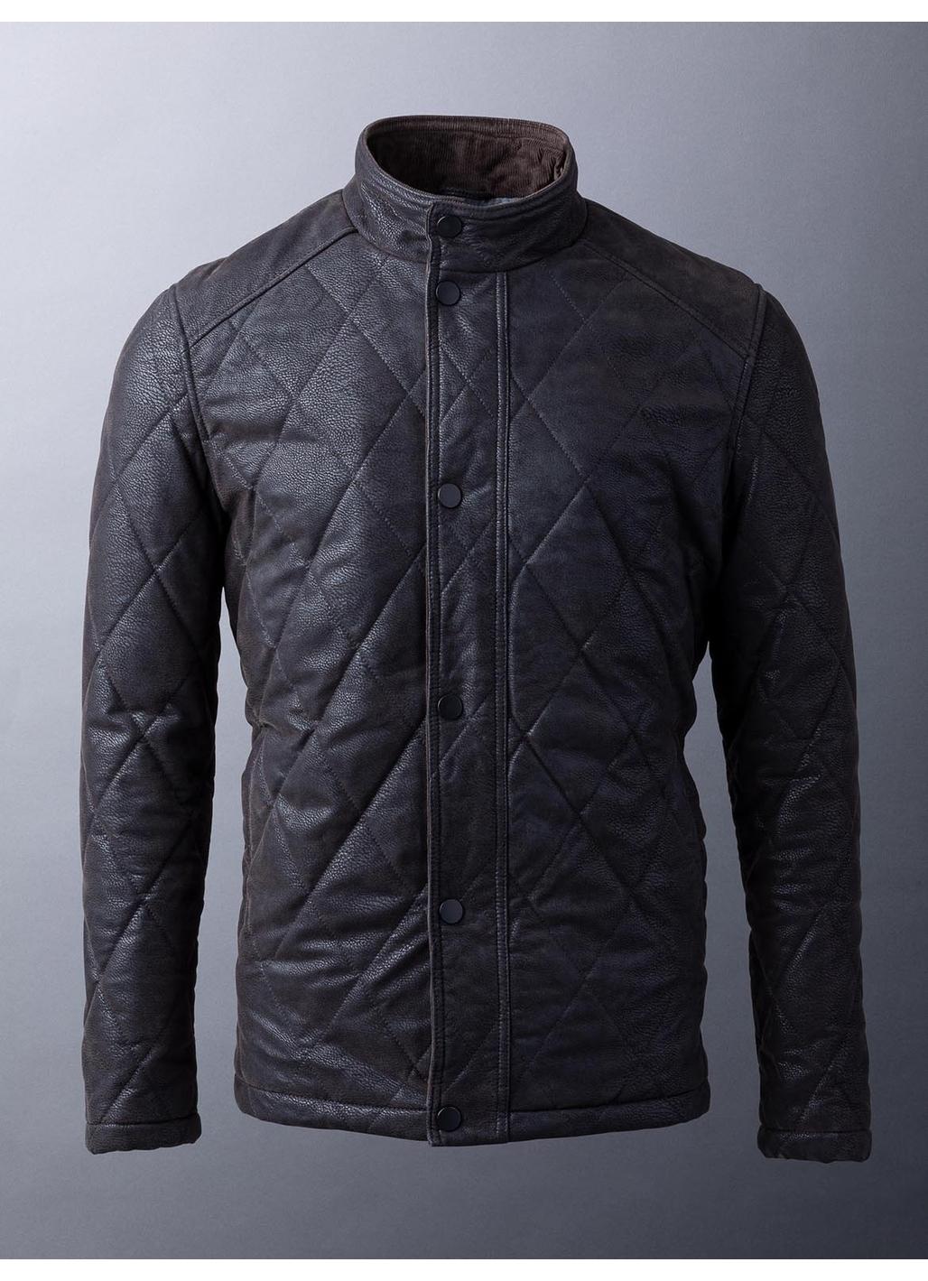 Eli Faux Nubuck Leather Coat in Dark Khaki