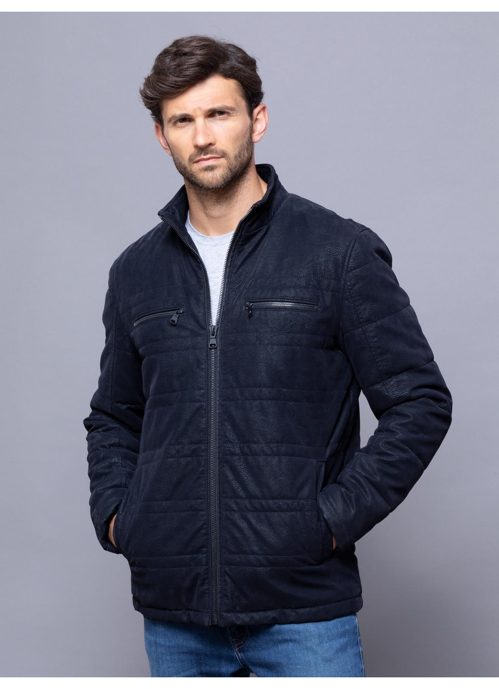 Lee Faux Leather Coat in Navy
