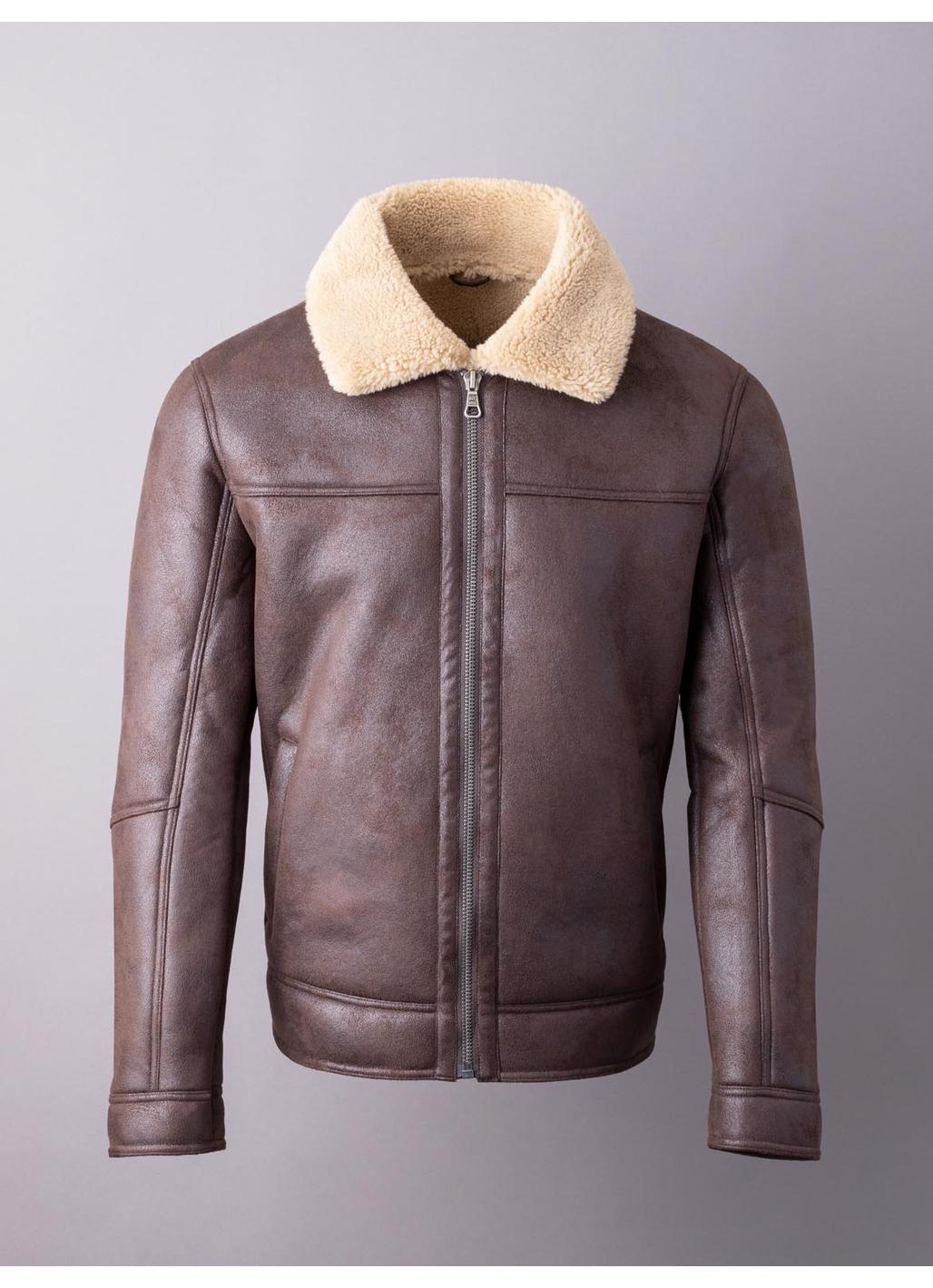 Aviator Faux Sheepskin Jacket in Brown