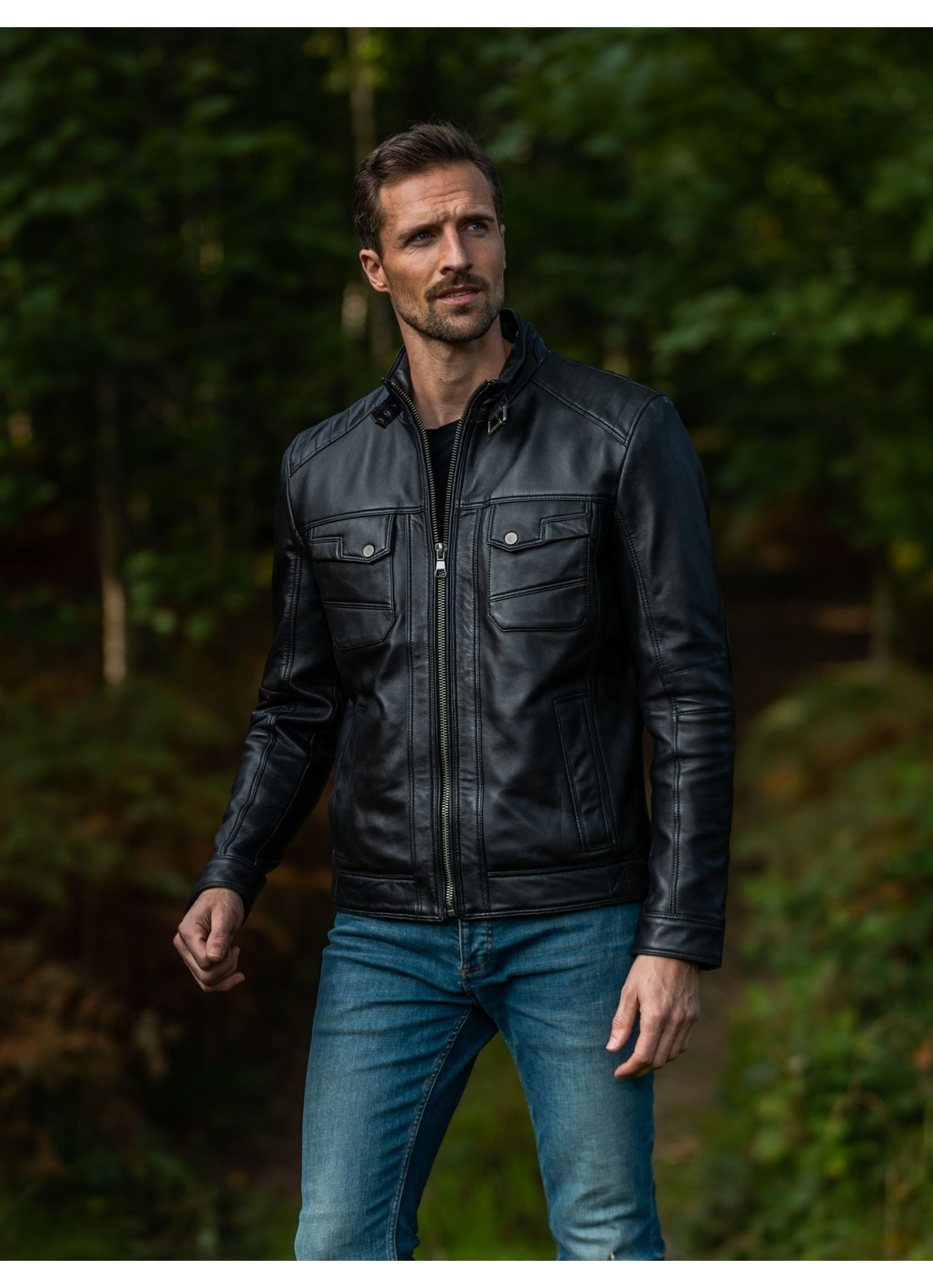 Wansfell Leather Biker Jacket in Black