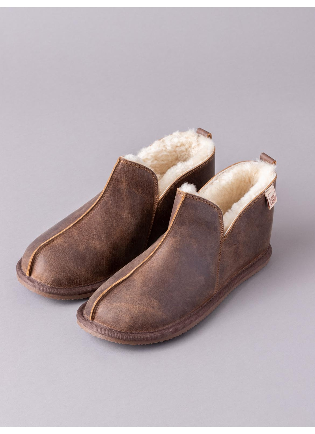 Men's Leather Slipper Boot in Brown