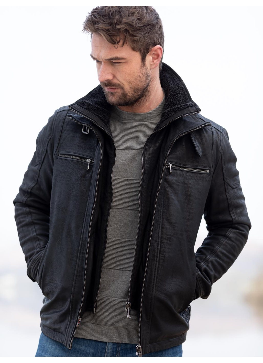 Derwent Leather Coat in Black