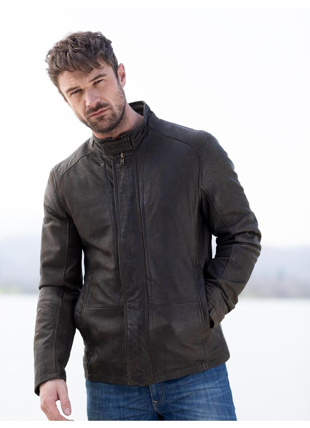 Benjamin Leather Coat in Brown