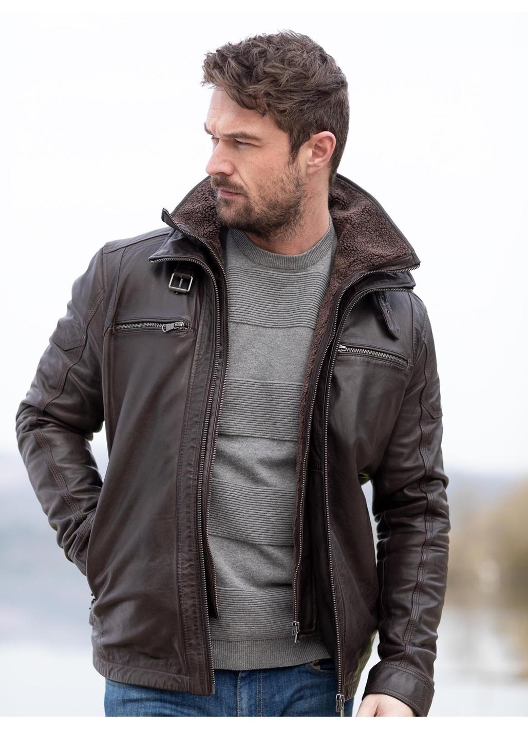 Derwent Leather Coat in Nero Brown