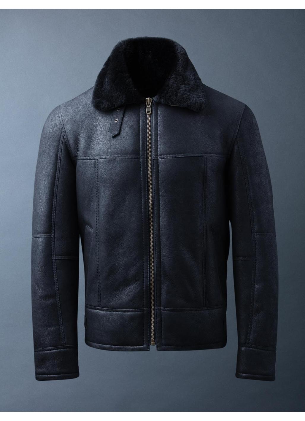 Hawker Sheepskin Flying Jacket in Black