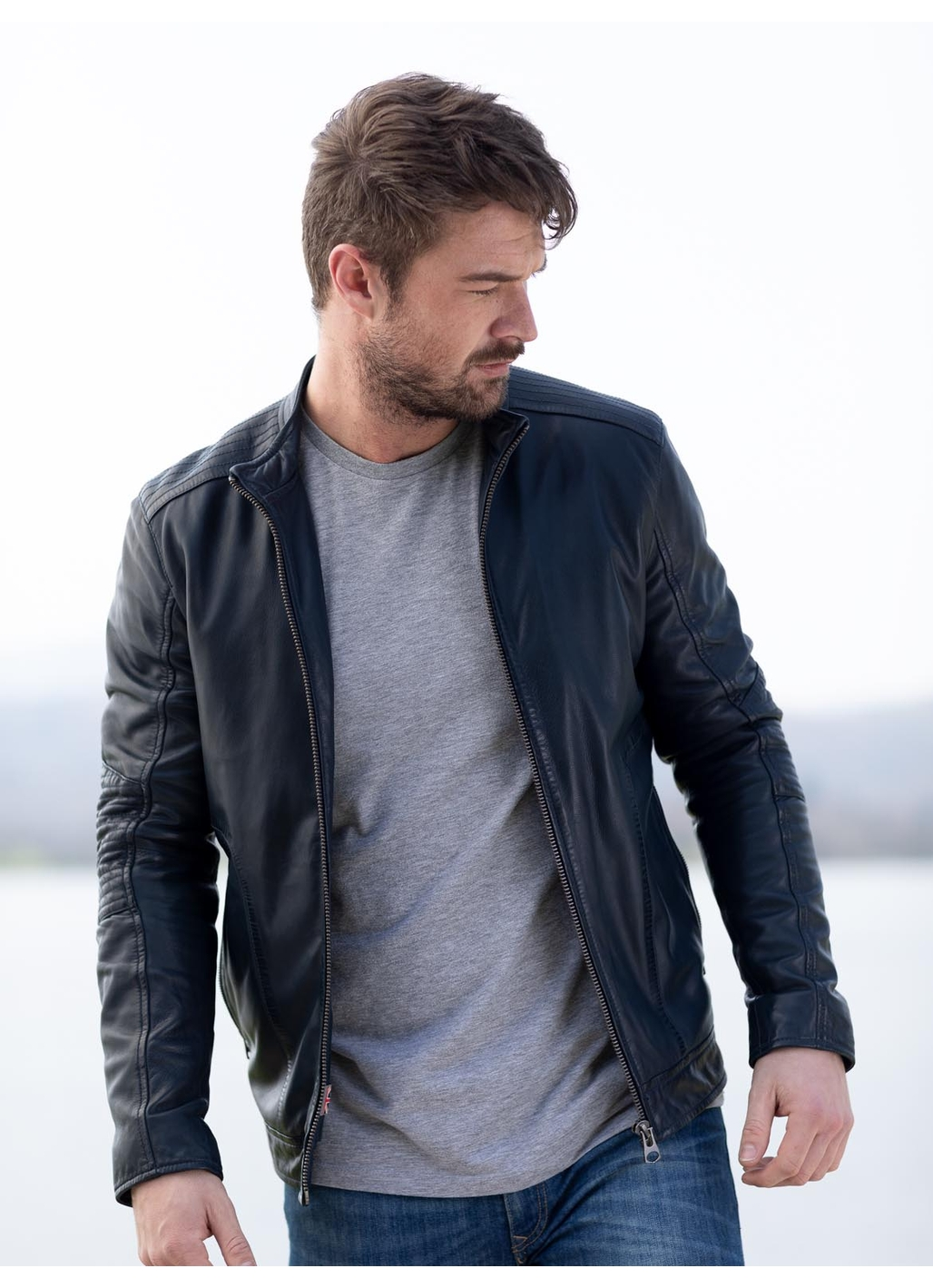 Greystoke Leather Jacket in Blue Night