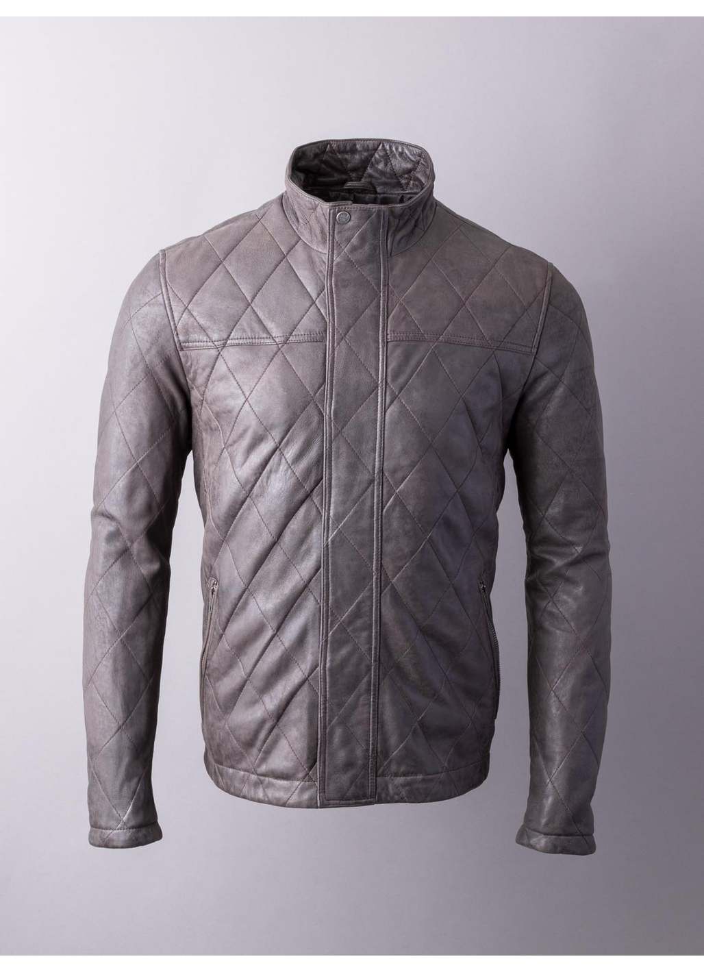 Kirkby Quilted Leather Jacket in Brown